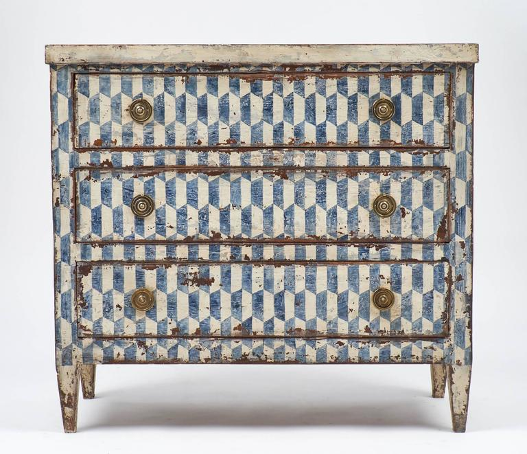 Neoclassical Pair Of Spanish Antique Painted Blue And Off White Chests Of Drawers For Sale