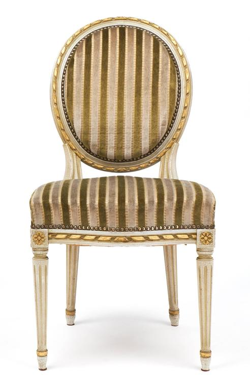 French Gold Leaf Striped Velvet Set Of Four Antique Louis XVI Dining Chairs  For Sale