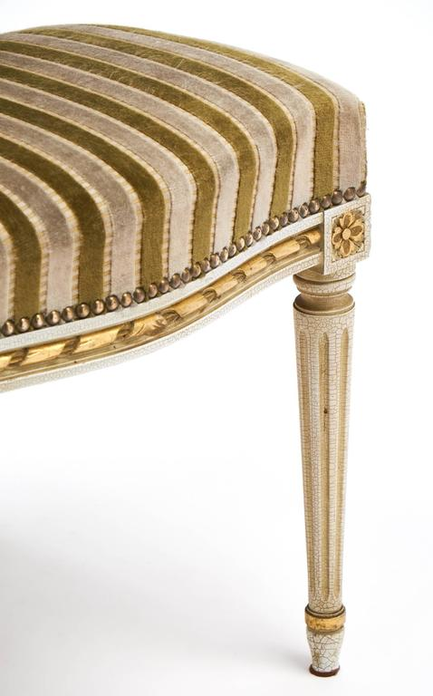 Gold Leaf Striped Velvet Set of Four Antique Louis XVI Dining Chairs For Sale 2