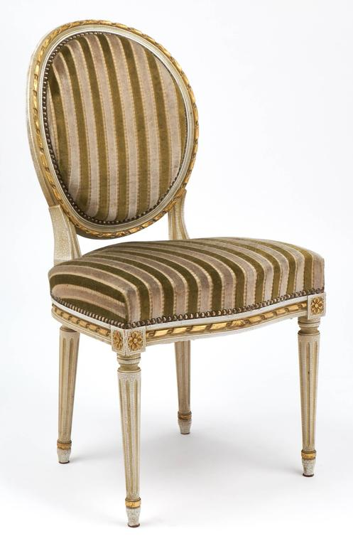 Painted Gold Leaf Striped Velvet Set of Four Antique Louis XVI Dining Chairs For Sale
