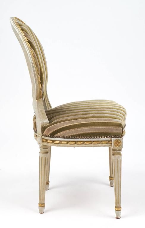 Gold Leaf Striped Velvet Set of Four Antique Louis XVI Dining Chairs In Good Condition For Sale In Austin, TX