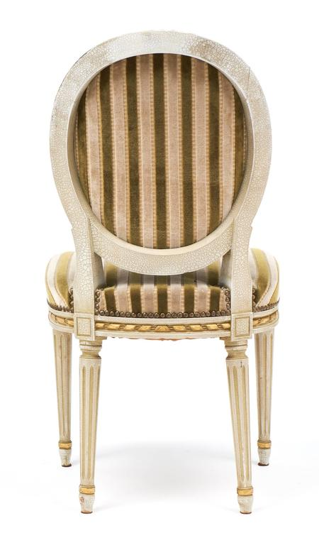Early 20th Century Gold Leaf Striped Velvet Set of Four Antique Louis XVI Dining Chairs For Sale