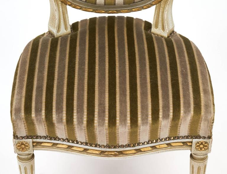 Gold Leaf Striped Velvet Set of Four Antique Louis XVI Dining Chairs For Sale 1