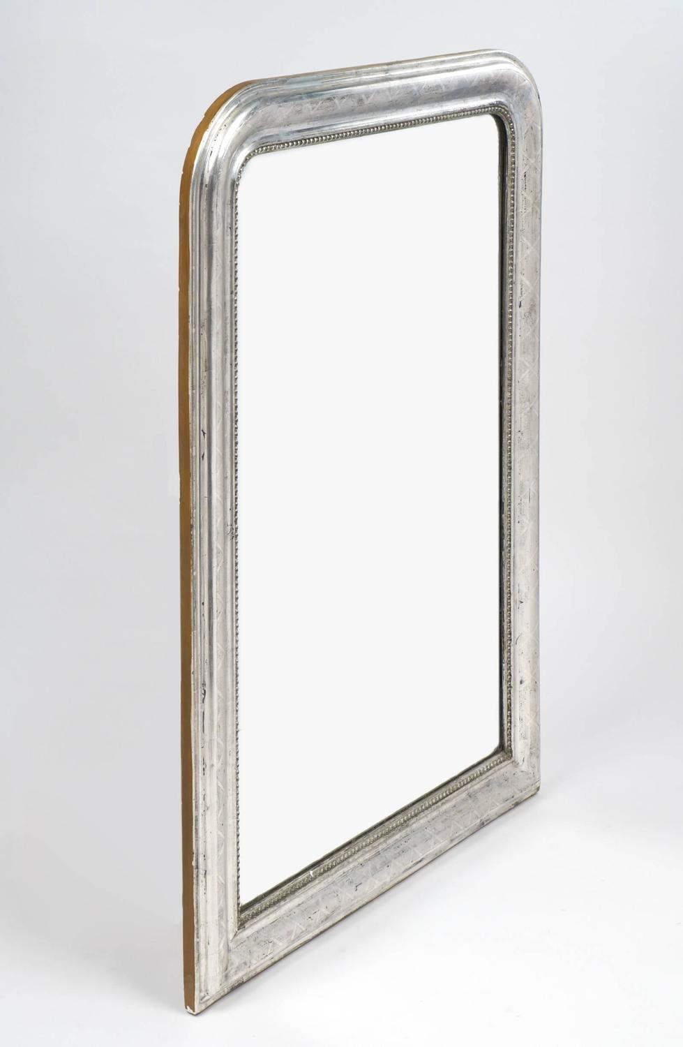 French louis philippe etched silver leaf mirror for sale for Silver framed mirrors on sale