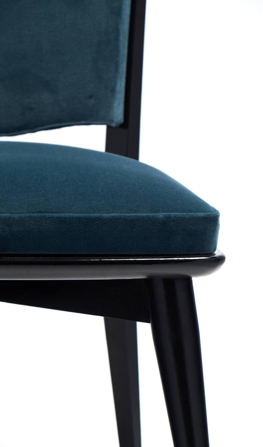 mid century modern period set of six teal velvet dining