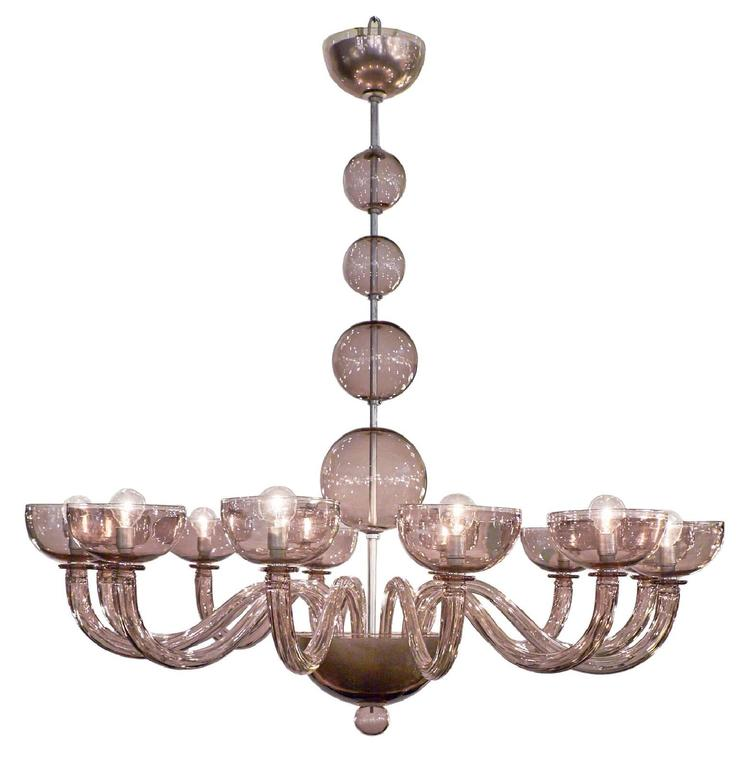 Amethyst Murano Glass Chandelier with 12 Branches
