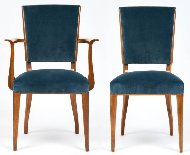 this french art deco set of cherrywood dining room chairs is no longer