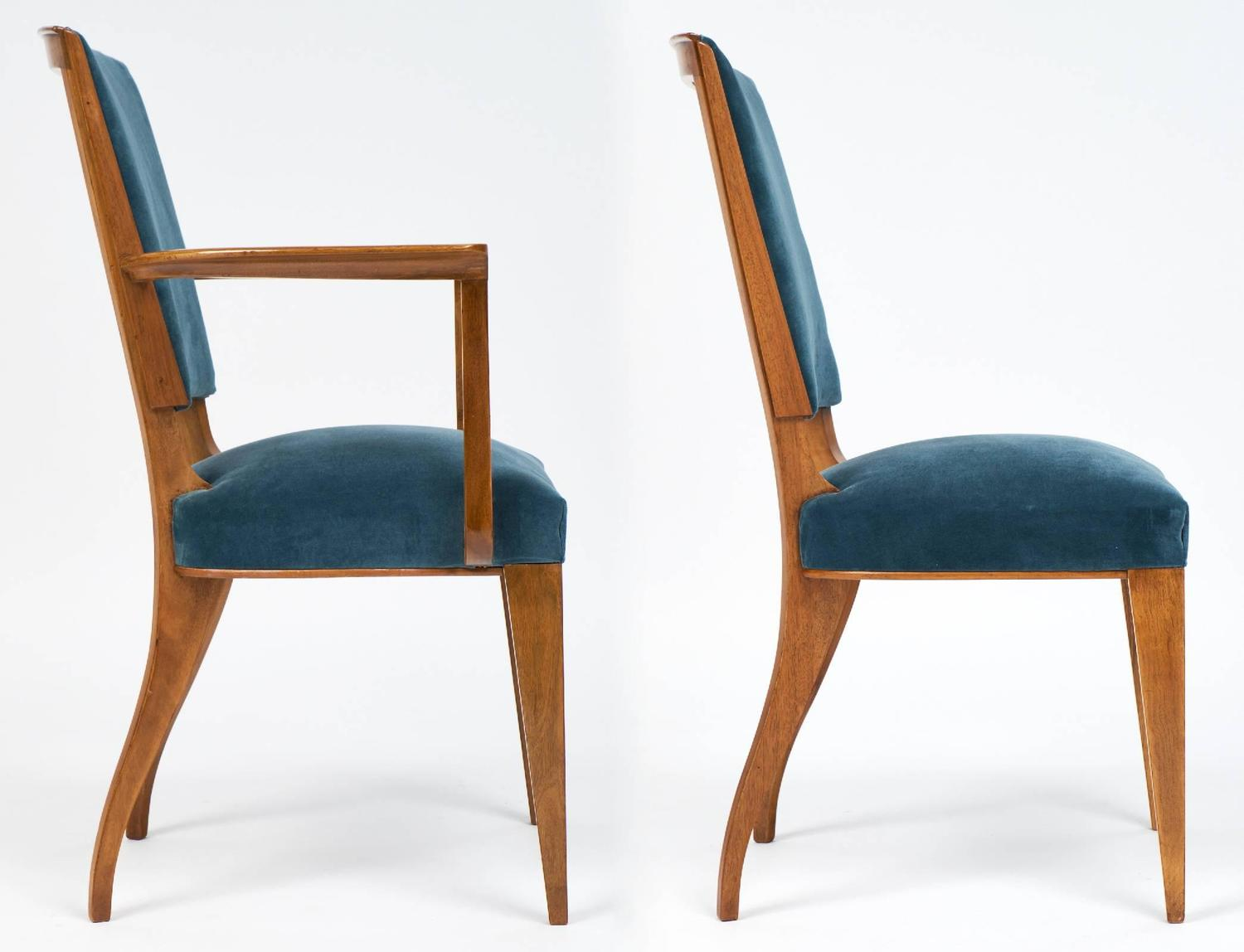 French Art Deco Set Of Cherrywood Dining Room Chairs For
