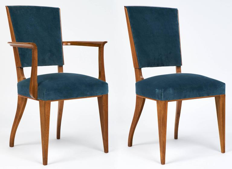 French Art Deco Set of Cherrywood Dining Room Chairs at  : 16B104FrenchArtDecoCherrywoodvelvetdiningroomchairsdl from www.1stdibs.com size 768 x 558 jpeg 31kB