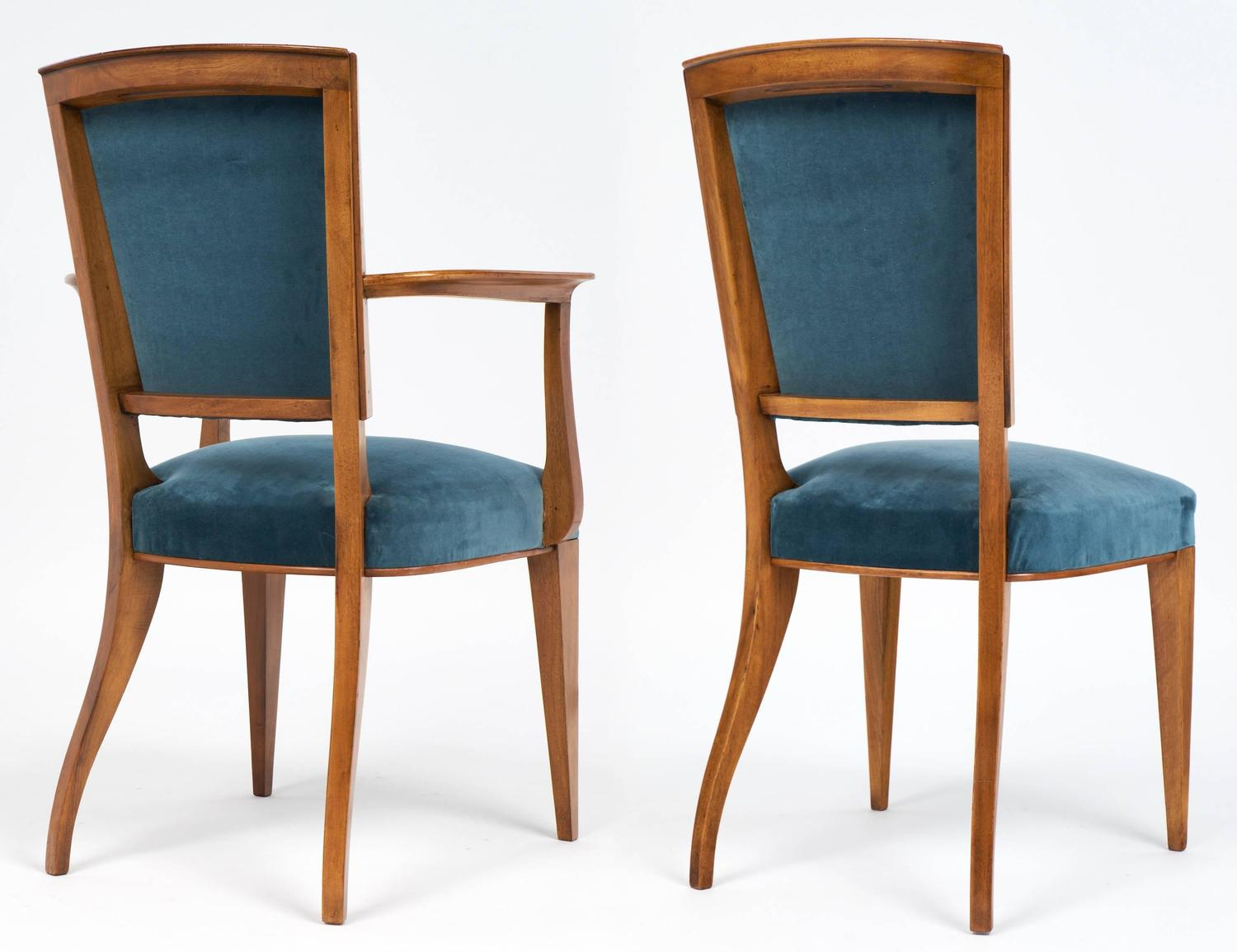 French art deco set of cherrywood dining room chairs for for Cherry dining room chairs