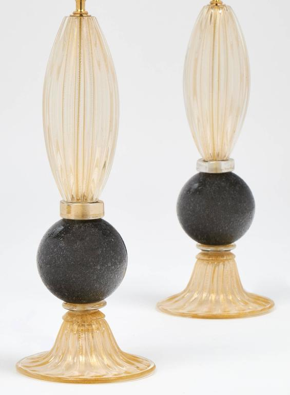 Italian Pair of Gold and Gray Murano Glass Table Lamps For Sale