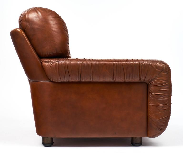French Vintage Overstuffed Leather Club Chairs At 1stdibs