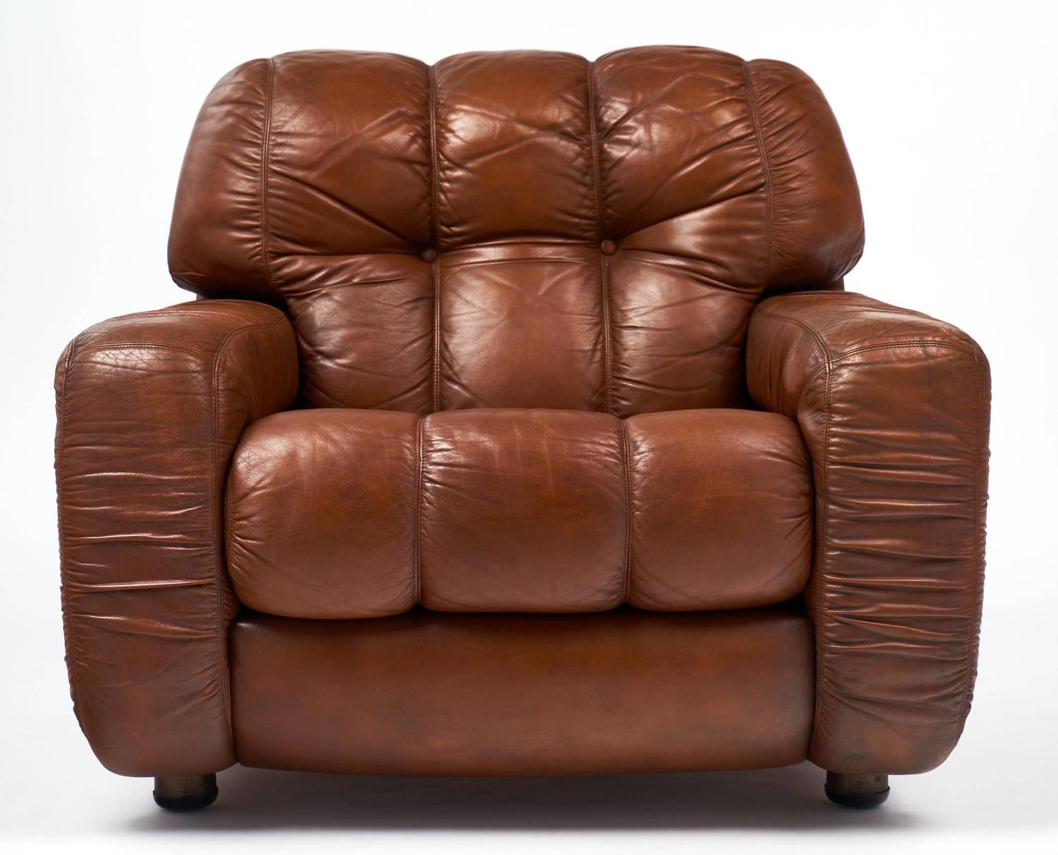 French Vintage Overstuffed Leather Club Chairs For Sale At