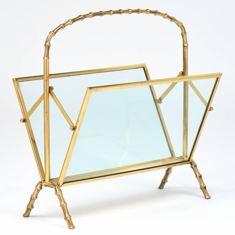 Vintage Maison Baguès Faux Bamboo Magazine Stand In Excellent Condition For Sale In Austin, TX