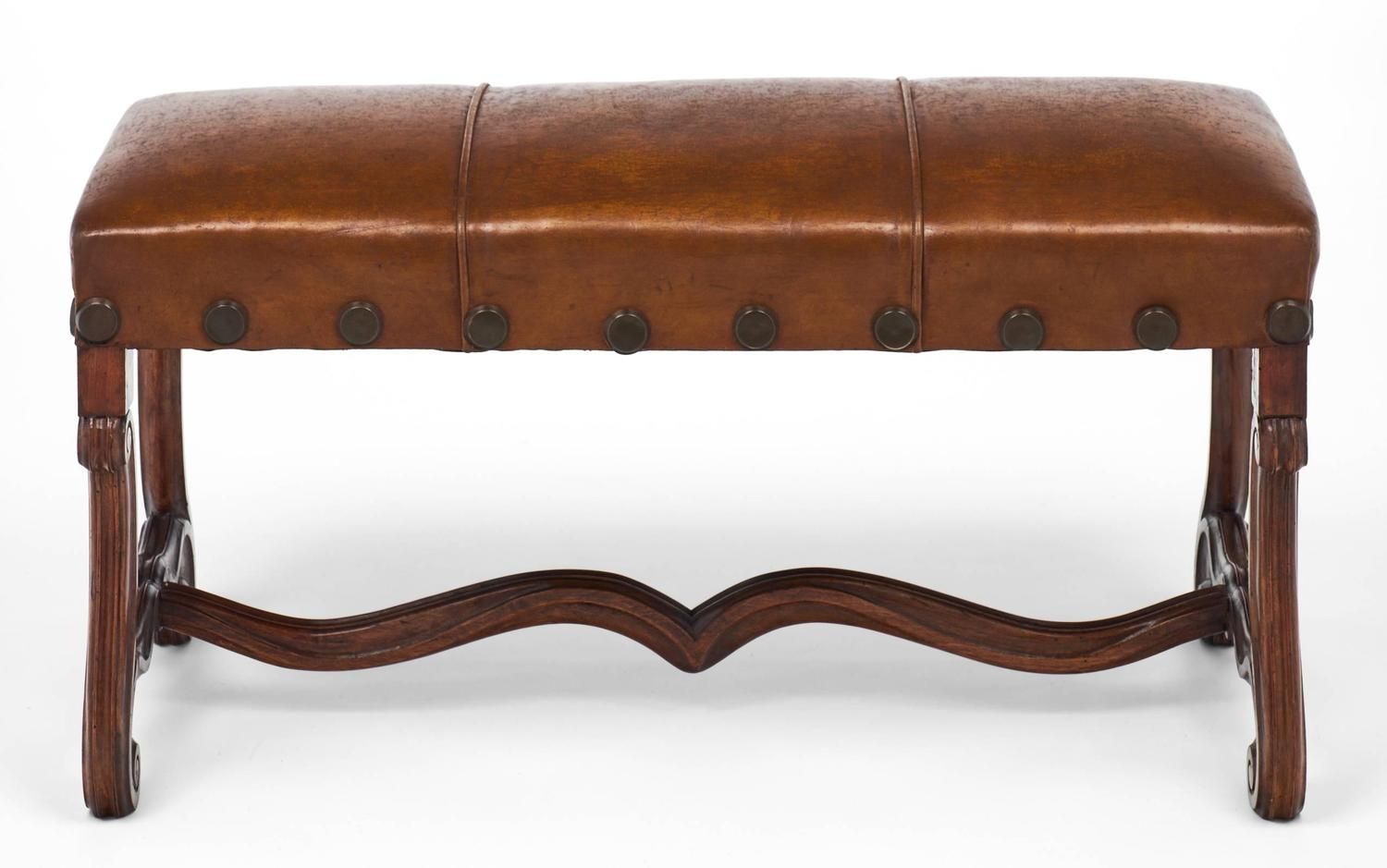 French Louis Xiv Style Leather Bench For Sale At 1stdibs