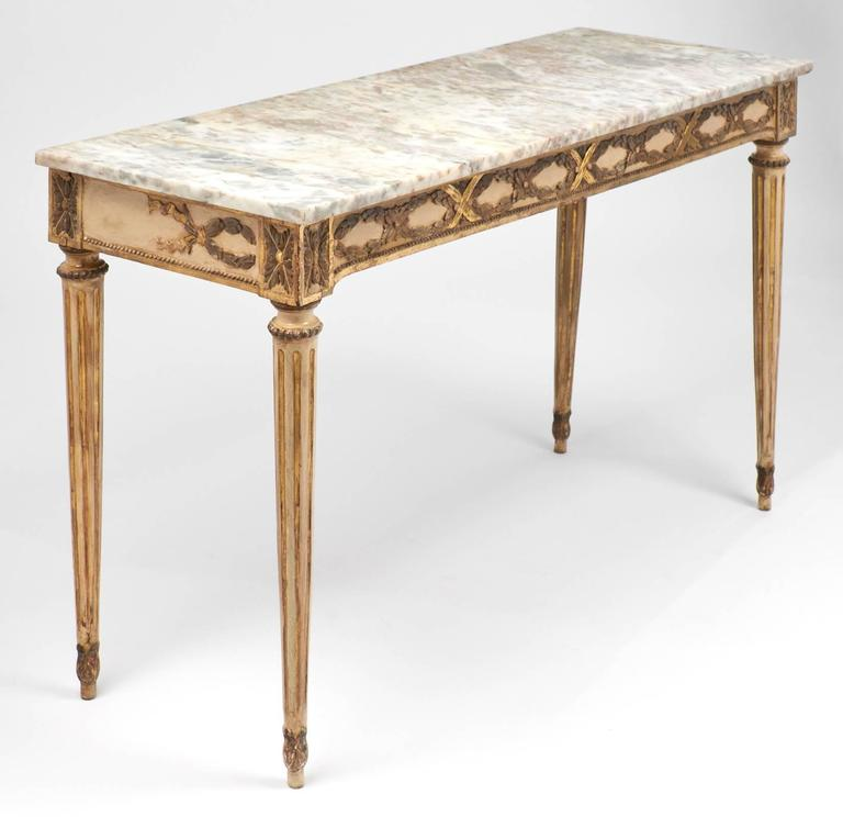Antique Pair Of Italian Marble Top Console Tables At 1stdibs