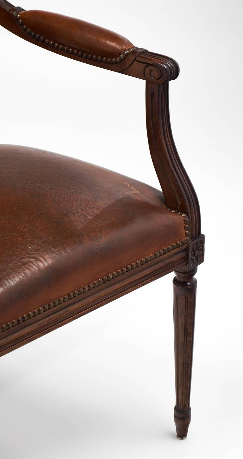 Louis Xvi Style Leather Armchair For Sale At 1stdibs