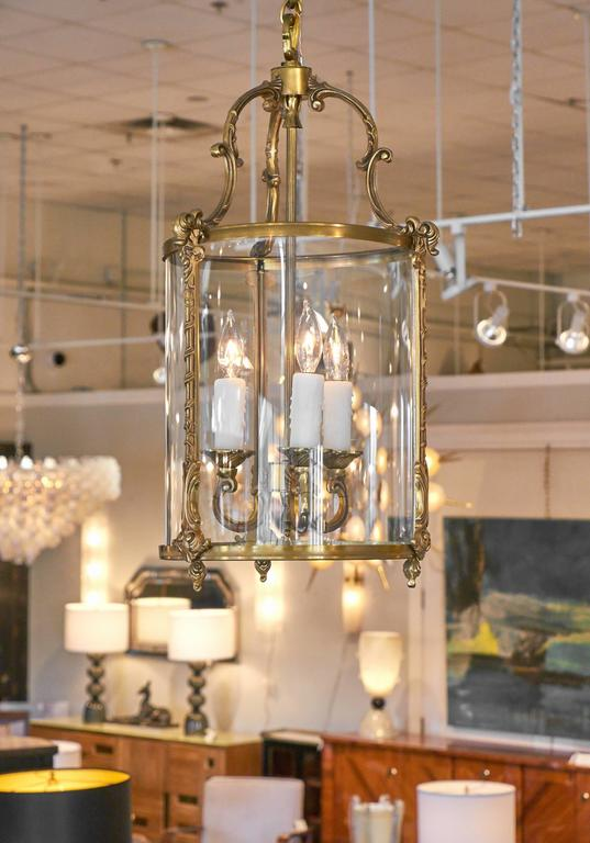 This Lantern Of Br And Gl Features Three Candelabra Lights Has Been Rewired For The