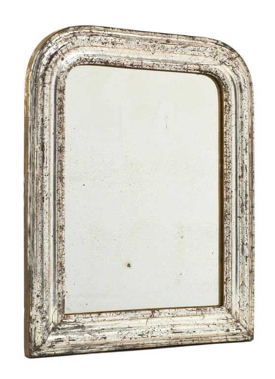 Pair of french louis philippe silver leaf mirrors for sale for Silver mirrors for sale