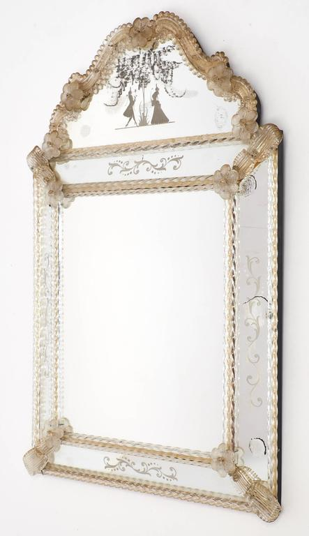 Antique Venetian Glass Mirror by Barbini at 1stdibs