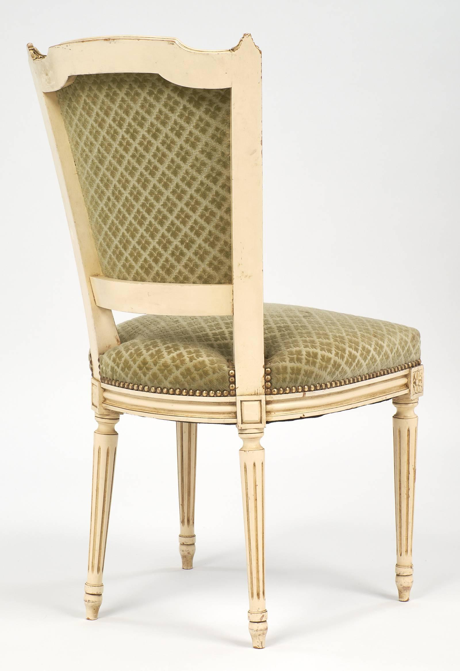 Attirant Set Of Antique French Louis XVI Style Sage Green Dining Chairs For Sale At  1stdibs