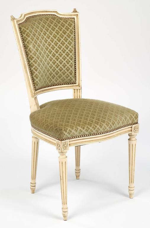 Set Of Antique French Louis Xvi Style Sage Green Dining
