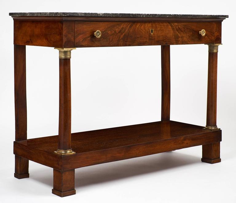 Antique French Empire Style Console Table With Sainte Anne Marble Top In Excellent Condition For