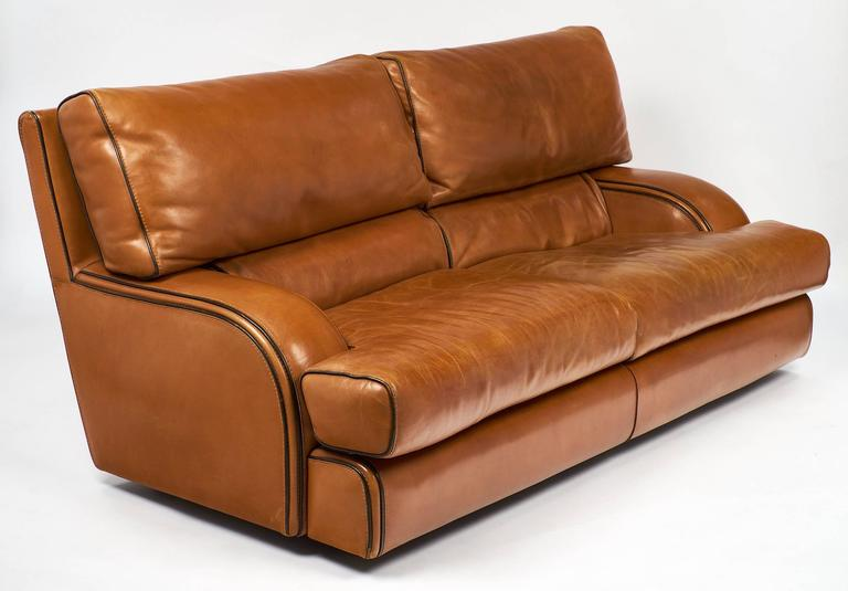 Modern Italian Vintage Baxter Leather Sofa For Sale