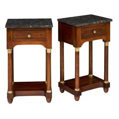 Antique French Marble Topped Empire Style Side Tables