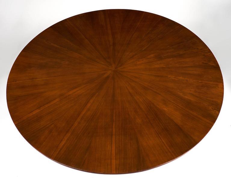 Brass Mid-Century Italian Walnut Table Style of Paolo Buffa For Sale
