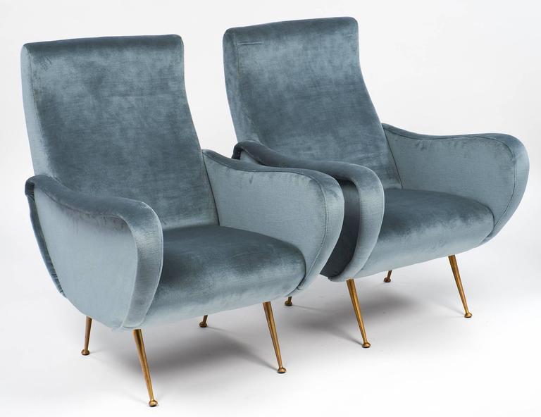 Elegant Modern Marco Zanuso Style Italian Vintage Armchairs For Sale