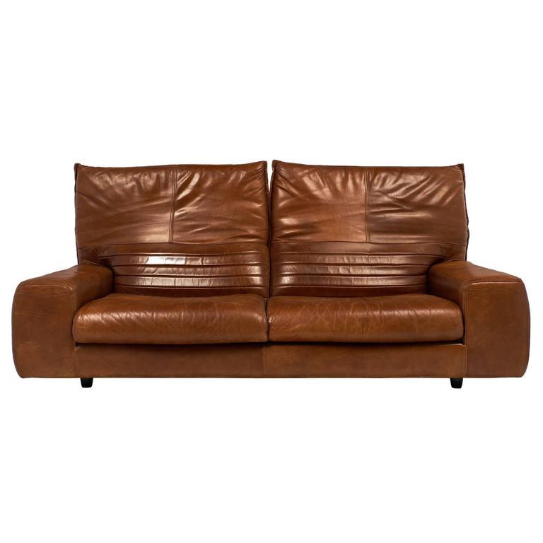 Italian Leather Vintage Sofa with Foldable Back