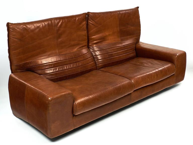 Mid Century Modern Italian Leather Vintage Sofa With Foldable Back For