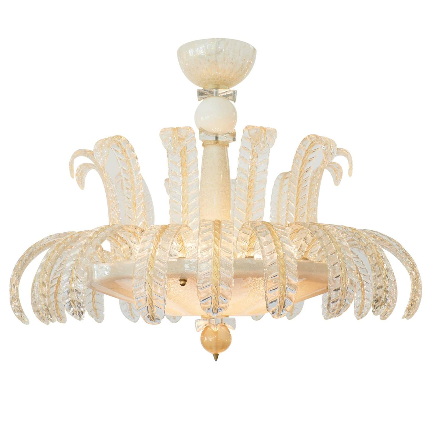 Art Deco Vintage Murano Glass Ballroom Chandelier at 1stdibs