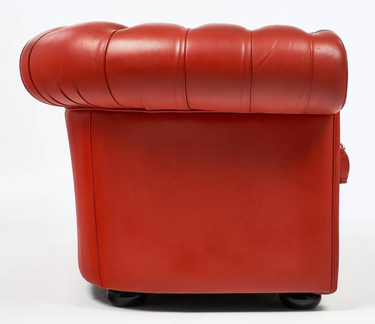 Vintage English Red Leather Chesterfield Couch For Sale 2