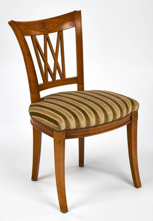 Set of Eight Directoire Style Antique French Dining Chairs In Excellent Condition For Sale In Austin, TX