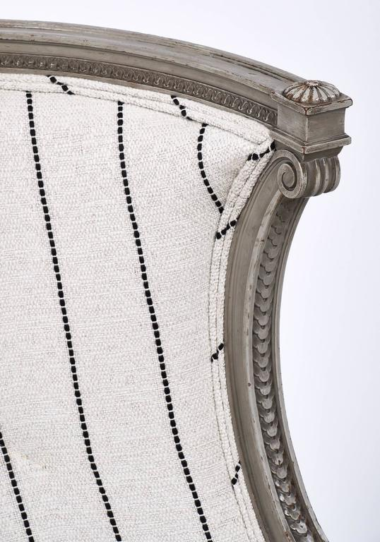 Louis XVI Style Striped 19th Century Bergère 4
