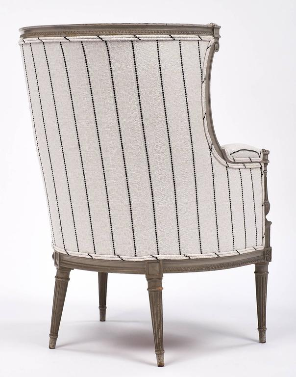 Louis XVI Style Striped 19th Century Bergère 8