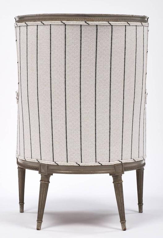Louis XVI Style Striped 19th Century Bergère 9