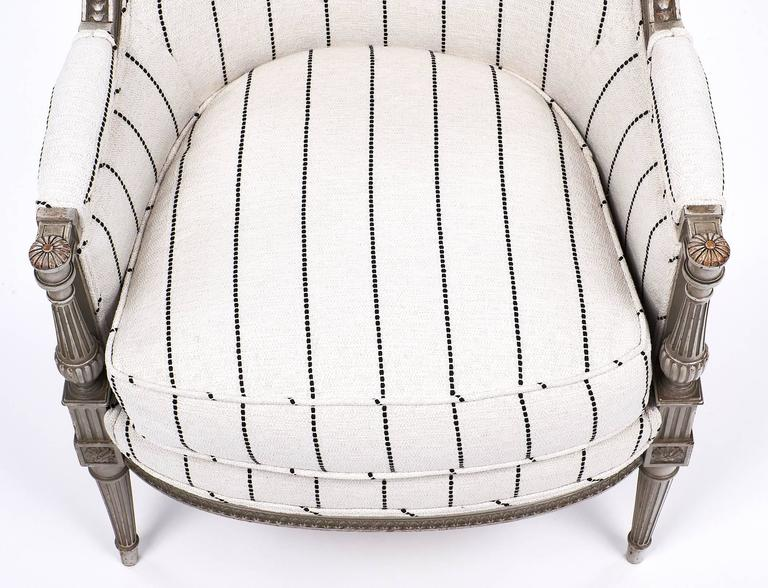 Louis XVI Style Striped 19th Century Bergère 5