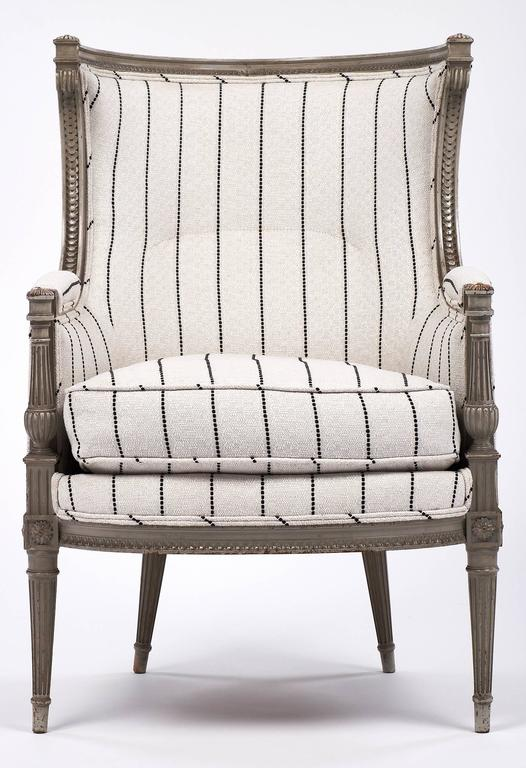 Louis XVI Style Striped 19th Century Bergère 3