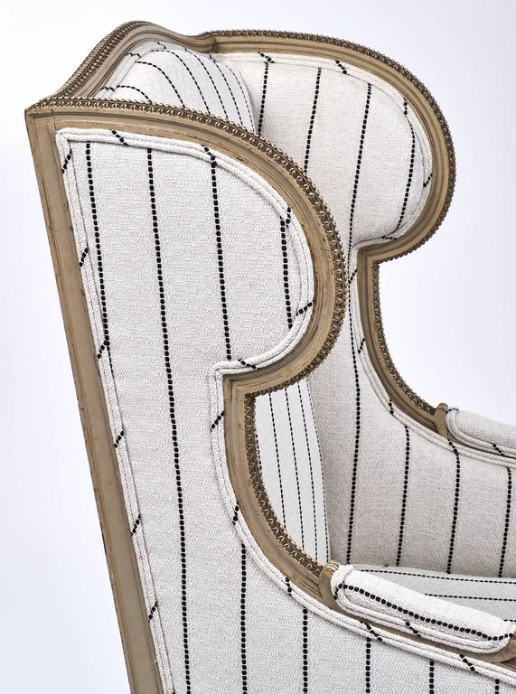 Linen Antique French 19th Century Striped Louis XVI Style Bergère For Sale