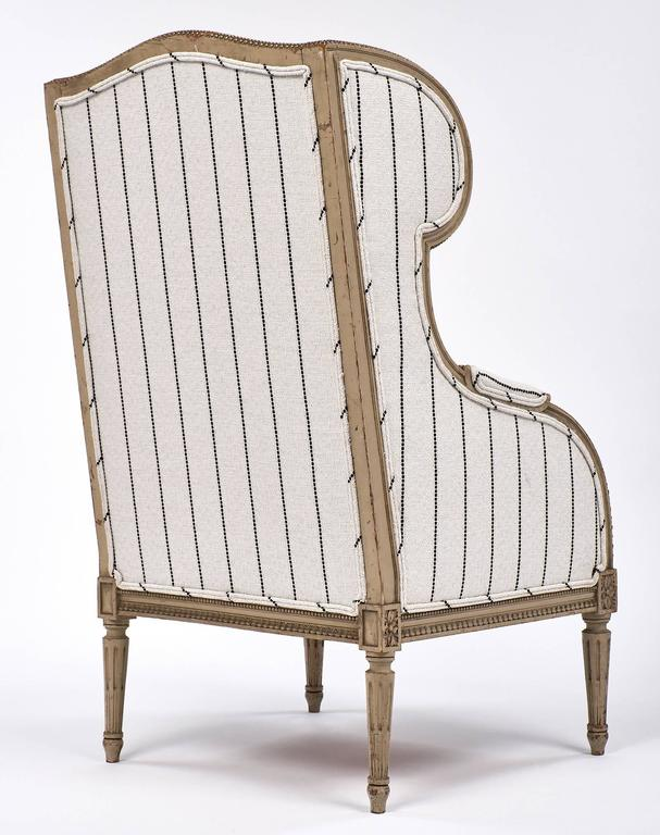 Antique French 19th Century Striped Louis XVI Style Bergère For Sale 4