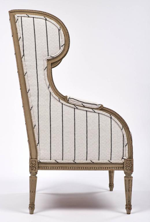 Antique French 19th Century Striped Louis XVI Style Bergère For Sale 3