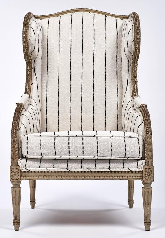 Antique French 19th Century Striped Louis XVI Style Bergère In Excellent Condition For Sale In Austin, TX