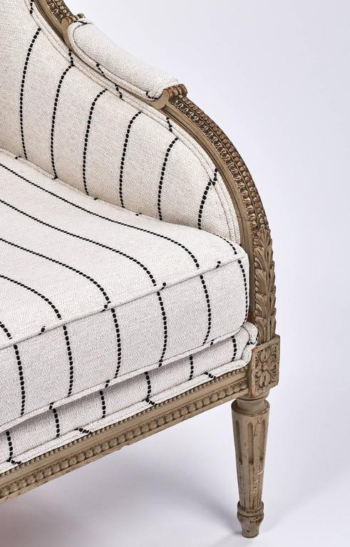 Antique French 19th Century Striped Louis XVI Style Bergère For Sale 2