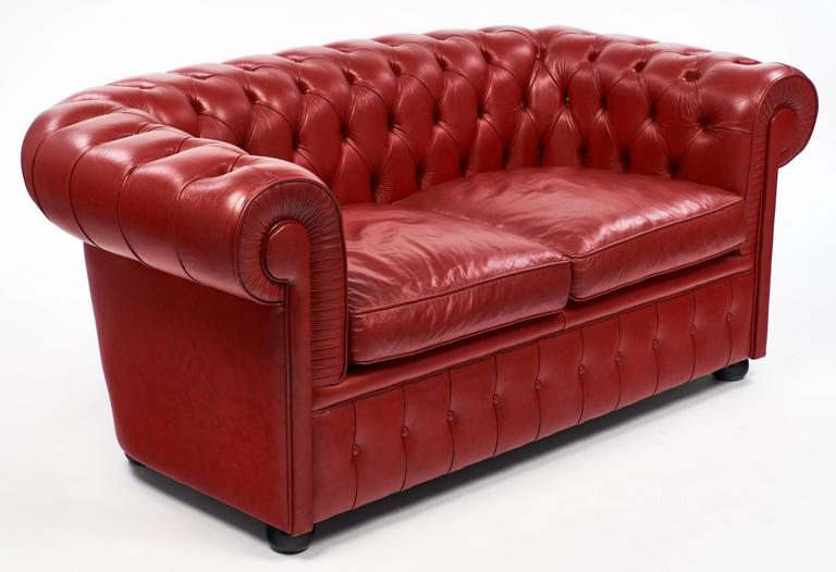 Mid Century Modern Vintage English Red Chesterfield Sofa For