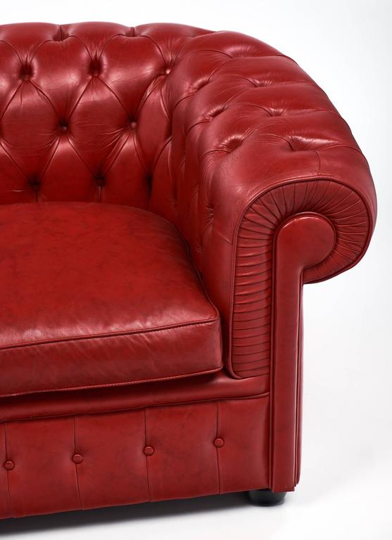 Vintage English Red Chesterfield Sofa For Sale At 1stdibs