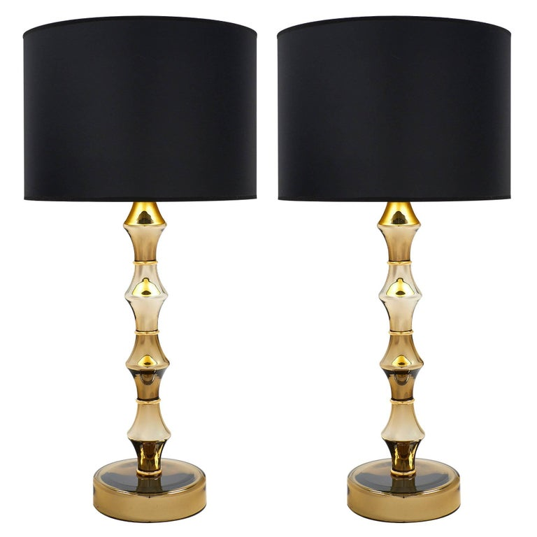 Pair of Mirrored Murano Glass Gold Lamps For Sale