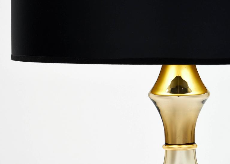 Italian Pair of Mirrored Murano Glass Gold Lamps For Sale